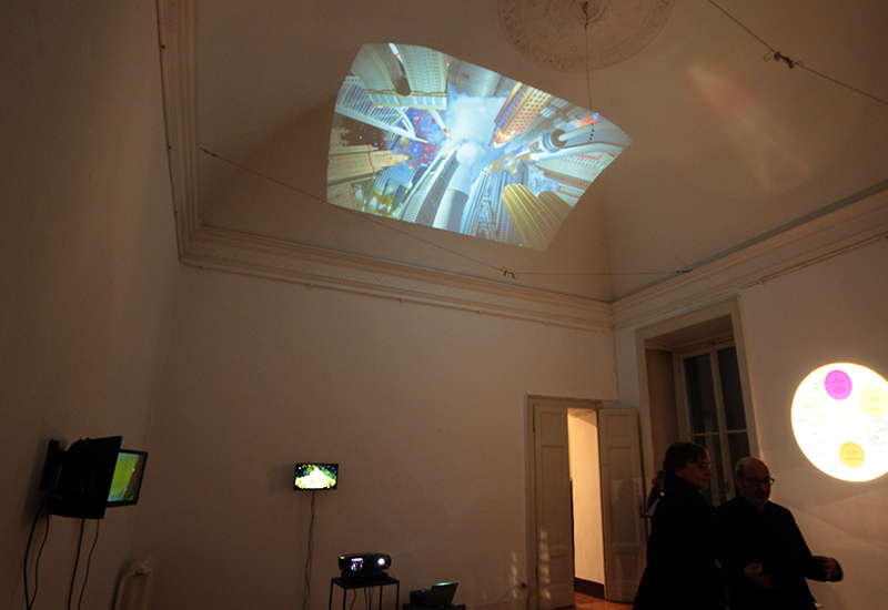 AFTER TIEPOLO as projection, ASCENSION + DEPRESSION MARQUIS on small monitors, Galleria Milano, 2015